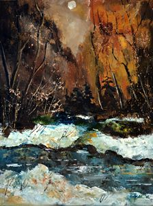 River in winter 45 - Pol Ledent's paintings