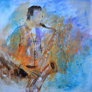 Sax player - Pol Ledent's paintings