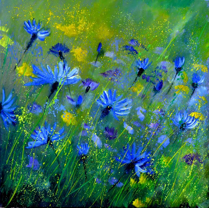 Blue cornflowers 5551 - Pol Ledent's paintings