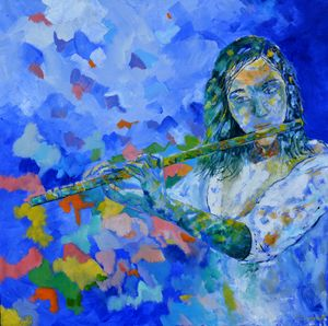 Playing the flute - Pol Ledent's paintings