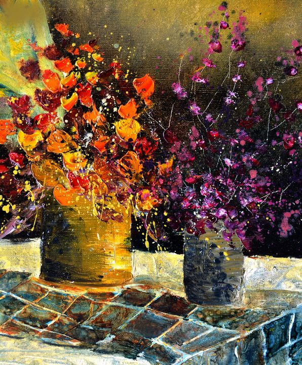 Two vases with flowers - Pol Ledent's paintings