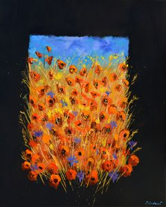 Red poppies and blue cornflowers - Pol Ledent's paintings
