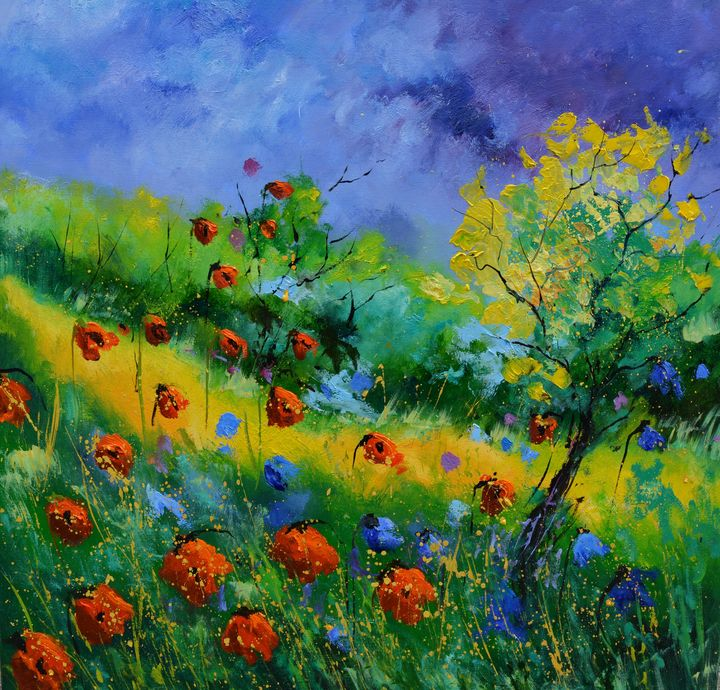 Red poppies in summer 2020 - Pol Ledent's paintings