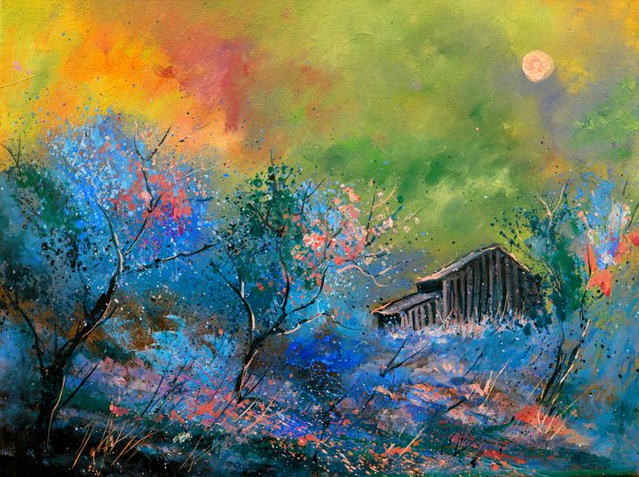 Old barn at dawn - Pol Ledent's paintings