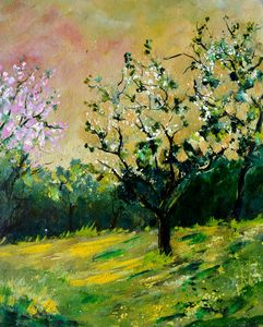 Orchard in spring - Pol Ledent's paintings
