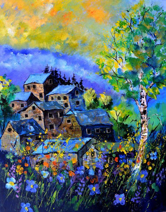 Old houses in summer - Pol Ledent's paintings