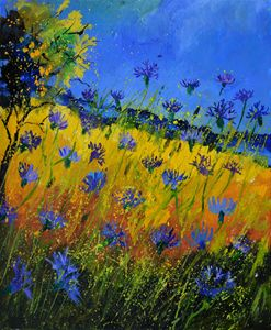 Blue cornflowers 5661 - Pol Ledent's paintings