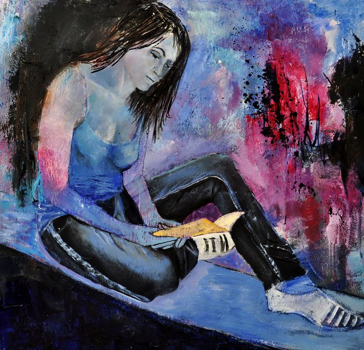 sitting young girl 77 - Pol Ledent's paintings