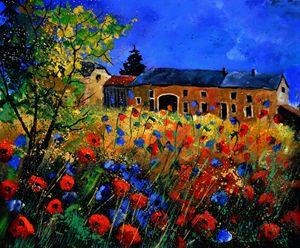 red poppies in Houroy - Pol Ledent's paintings