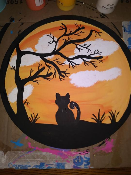 Halloween Cat Silhouette - Godbey's Creations