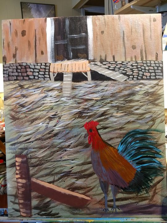 rooster in the barnyard - artist23