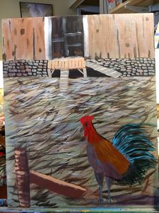 rooster in the barnyard