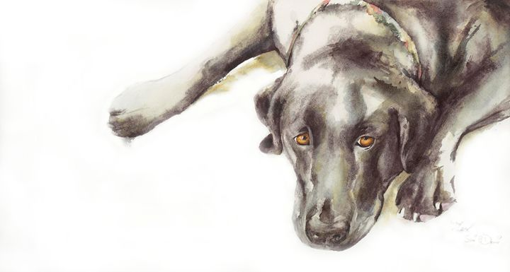 Waiting for a walk - Watercolors by Susi