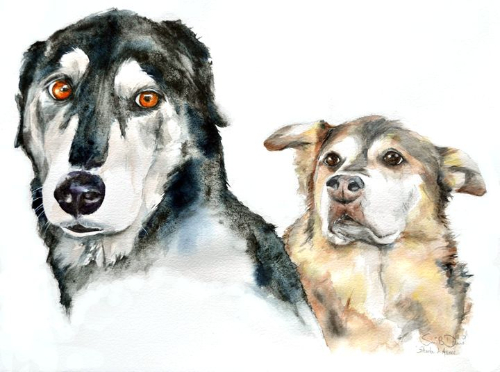Two friends - Watercolors by Susi