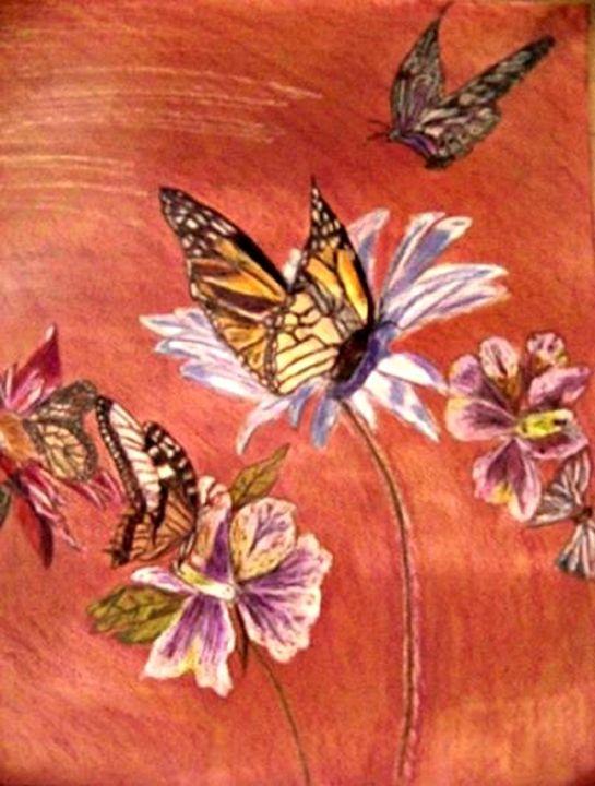 Butterflies and Flowers - Kris Gray Art