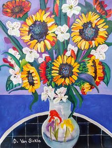 Sunflowers and Alstroes in a Vase - Darlene Van Sickle