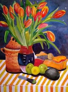 Orange Tulips with Cannister & Fruit - Darlene Van Sickle