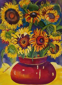 Sunflowers in am,Big Red Pot - Darlene Van Sickle