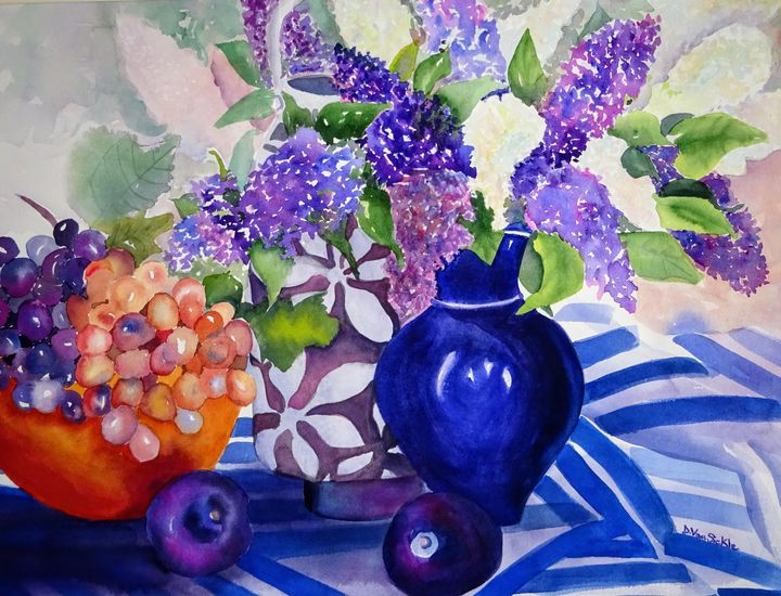 Still Life with Grapes and Lilacs - Darlene Van Sickle