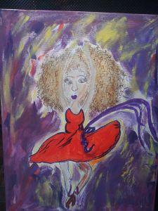 Red dress ballerina