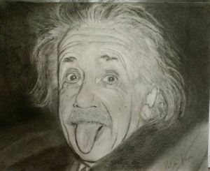 Albert Einstein drawing portrait