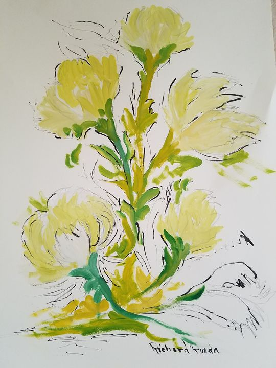 Green Flowers - Richard Rueda Gallery