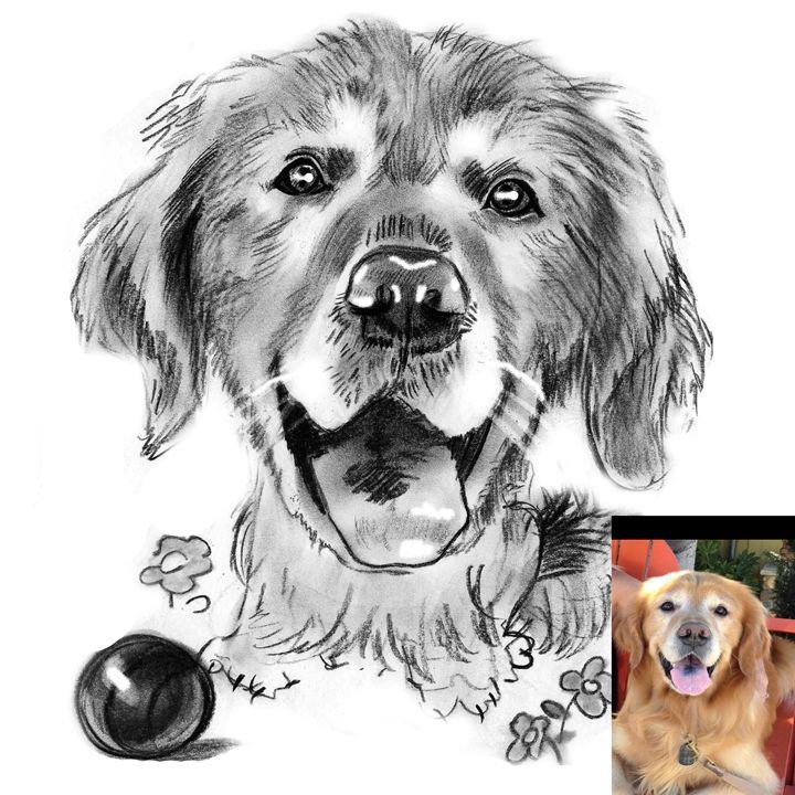 Hand Drawn Custom Pet Portrait B&W - FudgeFace Caricatures