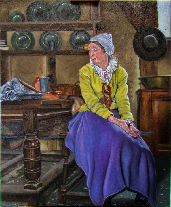 """vieille femme dans son intérieur - French painter """" Blanchard """""""