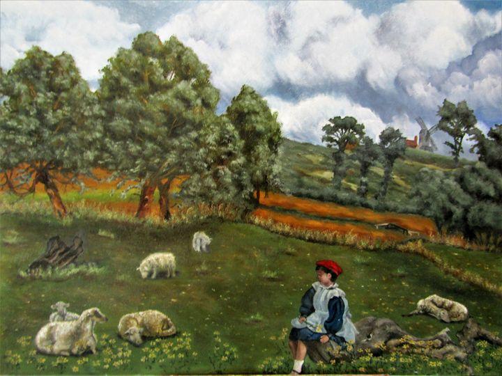 "gardienne de mouton - French painter "" Blanchard """