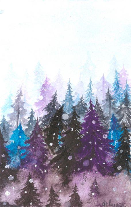 First snow in a foggy forest - Veronika de Lunar