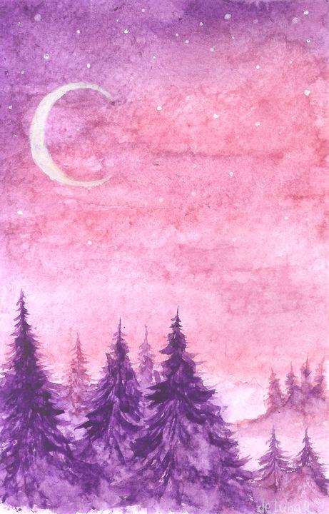 Half moon and purple forest - Veronika de Lunar