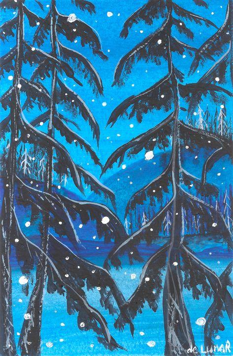 Snowfall on the icy lake - Veronika de Lunar