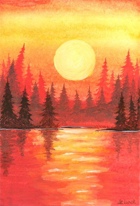 Sunset in the copper forest - Veronika de Lunar