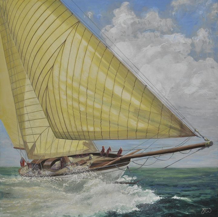 YACHT IN FULL SAIL WITH SPRAY - James Ineson