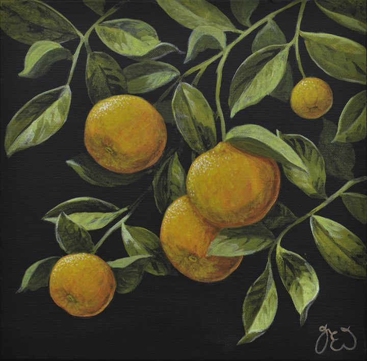 Leafy hanging Oranges - James Ineson