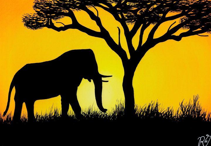 Savannah | Sunset | Elephant - Expressio-art