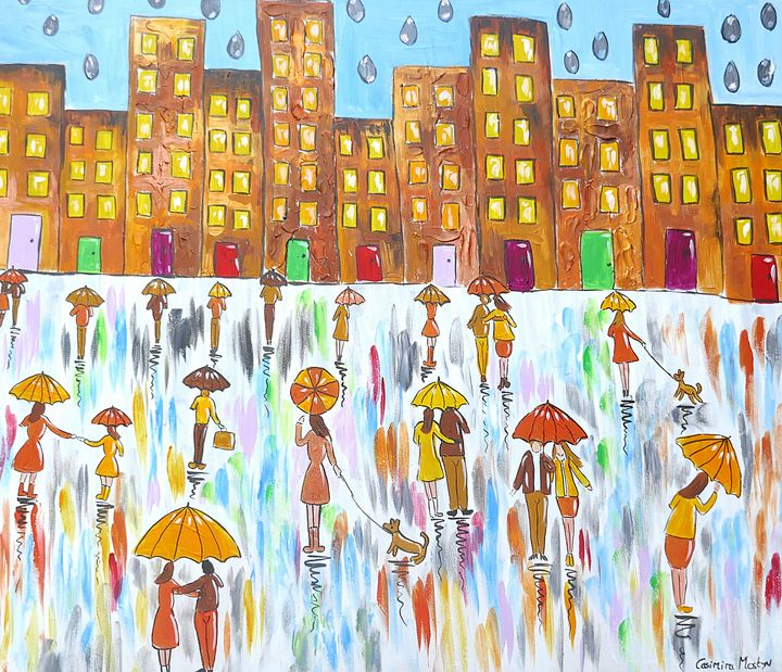 Raindrops on Colourful Umbrellas - Casimira Mostyn