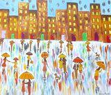 Colourful Umbrella painting