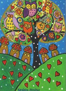 Colourful Owls on a  Folk Art Tree
