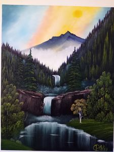 Twin falls in the mist - Affordable oil paintings
