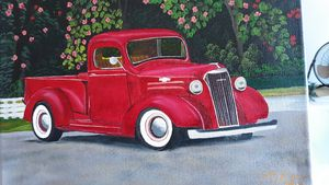 Antique red truck - Affordable oil paintings