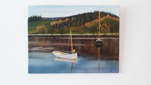 Sailboats on lake - Affordable oil paintings