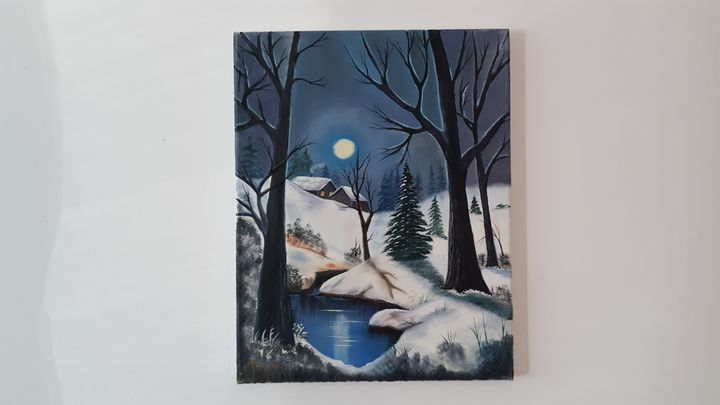Snow scene at dusk - Affordable oil paintings