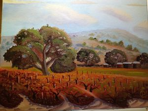 Vintage autumn vineyard - Affordable oil paintings