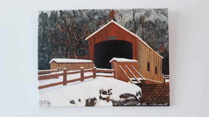 Snowy covered  bridge - Affordable oil paintings