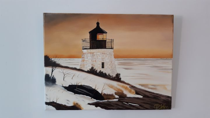 Snowy lighthouse - Affordable oil paintings