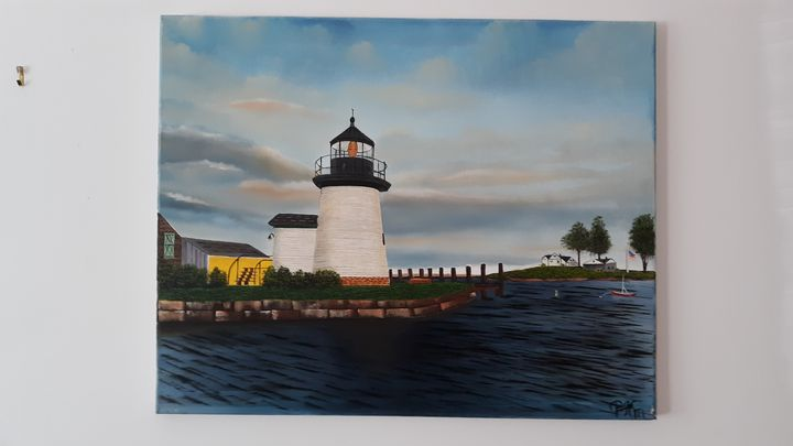 Brandt point lighthouse in mystic, c - Affordable oil paintings