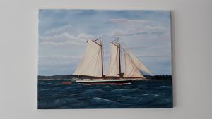 Sailing vessel on open water - Affordable oil paintings