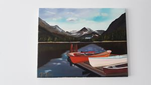 Rowboats at the dock - Affordable oil paintings