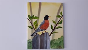 Robin sitting on tree stump - Affordable oil paintings